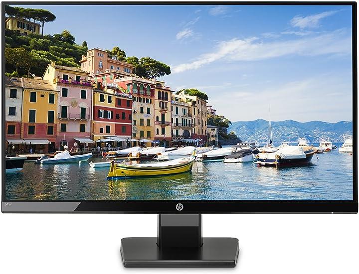 Monitor pc hp 24w , schermo 24 pollici ips full hd, risoluzione 1920 x 1080, micro-edge, antiriflesso, 1CA86AA#ABB