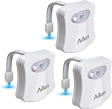 Toilet Night Light 3Pack by Ailun Motion Activated LED Light 8 Colors Changing Toilet Bowl Nightlight for Bathroom Battery...