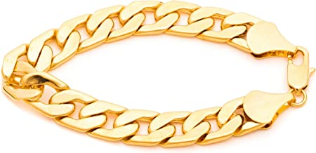 Lifetime Jewelry Cuban Link Chain Men Bracelets [ 11mm Flat Miami Curb Link Bracelet ] 20X More 24k Plating Than Other Gold Bracelets for Men with Free Lifetime Replacement Guarantee 8 9 and 10 inches