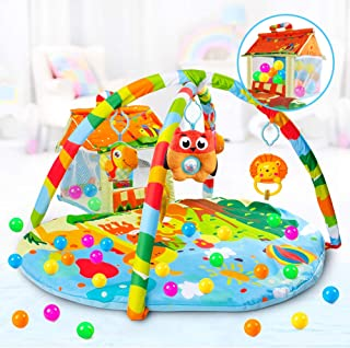 VATOS Baby Play Mat and Infant Activity Gym Ball Pit Kick and Play Perfect Sense Deluxe Gym, Zoo Plush Infant Play Mat wit...