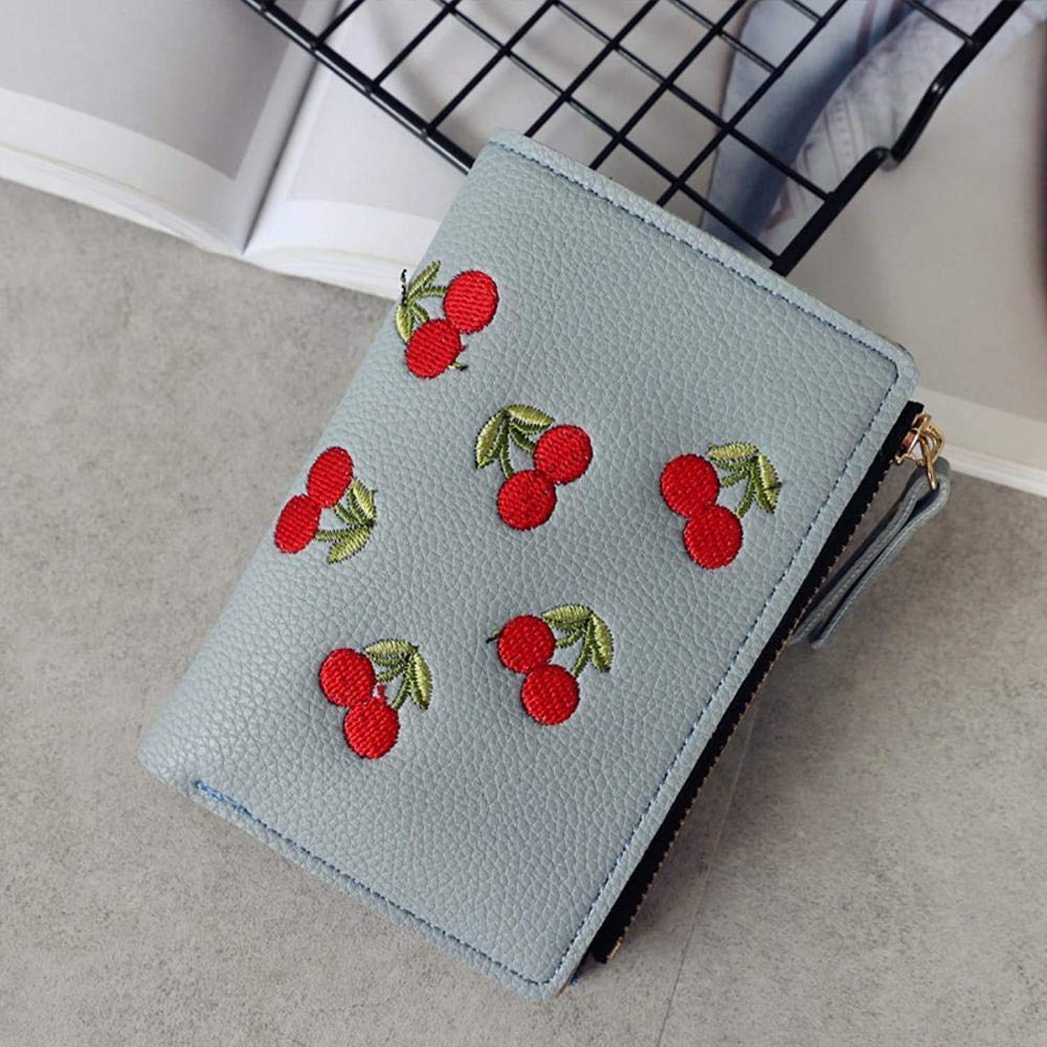 Girls Purse Women's Buckle Embroidery Short Small Clip Student Simple Fashion Wallet 9.5  12.5  3cm (color   F)