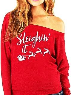 Sleighin' It Christmas Slouchy Sweatshirt Red by NoBull Woman