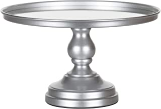 Amalfi Decor 12 Inch Cake Stand with Mirror Top, Dessert Cupcake Pastry Candy Display Plate for Wedding Event Birthday Party, Round Modern Metal Pedestal Holder, Silver