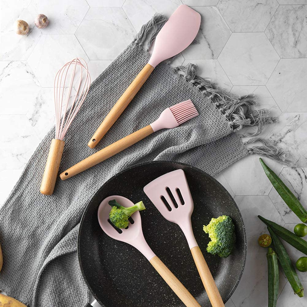 Absir 11pcs//Set 9pcs//Set Solid Wood Handle Pink Silicone Kitchenware with Storage Bucket 11pcs//Set with Colorful Box