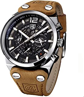 Men's Big Dial Quartz Sport Watches Brown Leather Band Chronograph Luminous Skeleton Military Wrist Watch for Men (Brown)