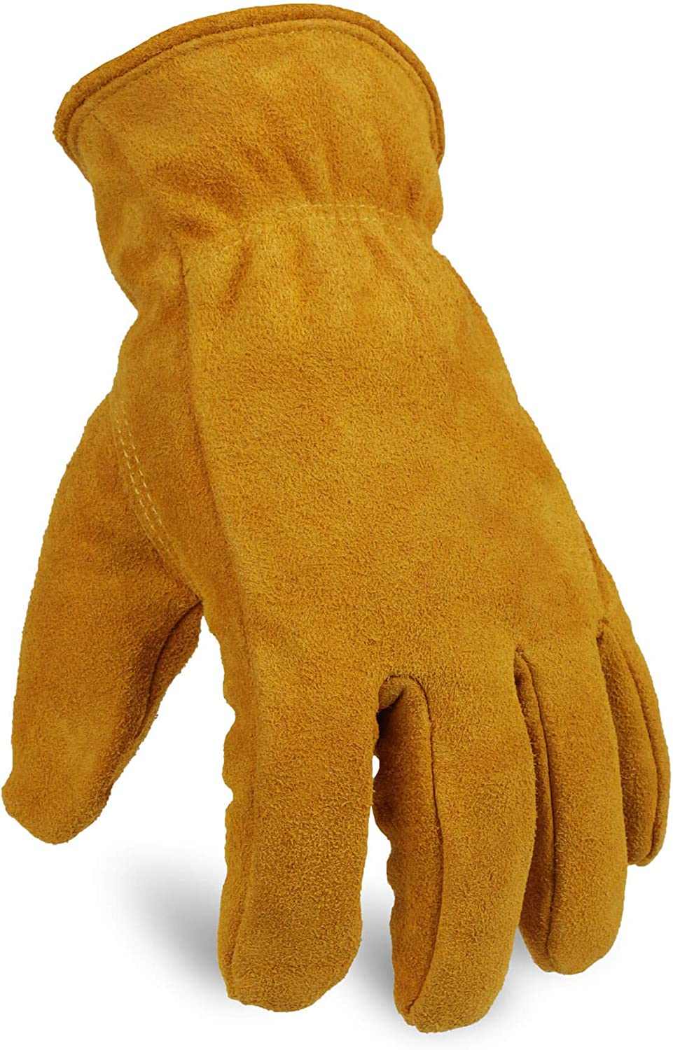 OZERO Work Gloves Winter Insulated Snow Cold Proof Leather Glove Thick Thermal Imitation Lambswool - Extra Grip Flexible Warm for Working in Cold Weather for Men and Women (Gold,X-Large)