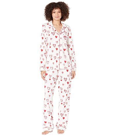 BedHead Pajamas Long Sleeve Classic Notch Collar Pajama Set (Cotton Spandex) (Love Is in the Air) Women
