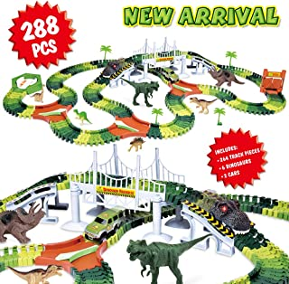 Dinosaur Track Toy Set 288 Piece, Dinosaur Car Race Track Toy with 264 Flexible Tracks, 1 Dinosaur Car and 1 Race Car, Create a Dinosaur Track, Dinosaur Toy for Kids Boys Girls Children Ages 3+