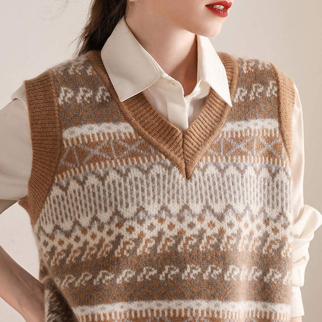 Women 100% pure cashmere v-neck vest fashion computer jacquard