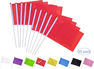 tibijoy Red Stick Flag, 50 Pack Hand Held Small Red Flags On Stick,Perfect Decorations Themed Party,Sports Clubs,Festival Events