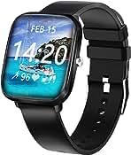 ساعت هوشمند ، ساعت هوشمند HuaWise برای گوشی های آندروید و iOS ، ساعت 1.44 اینچی Touch Smartwatch Waterproof Fitness Tracker Watch با ضربان قلب ، کرونومتر ، ساعت های هوشمند برای مردان آیفون سازگار با سامسونگ
