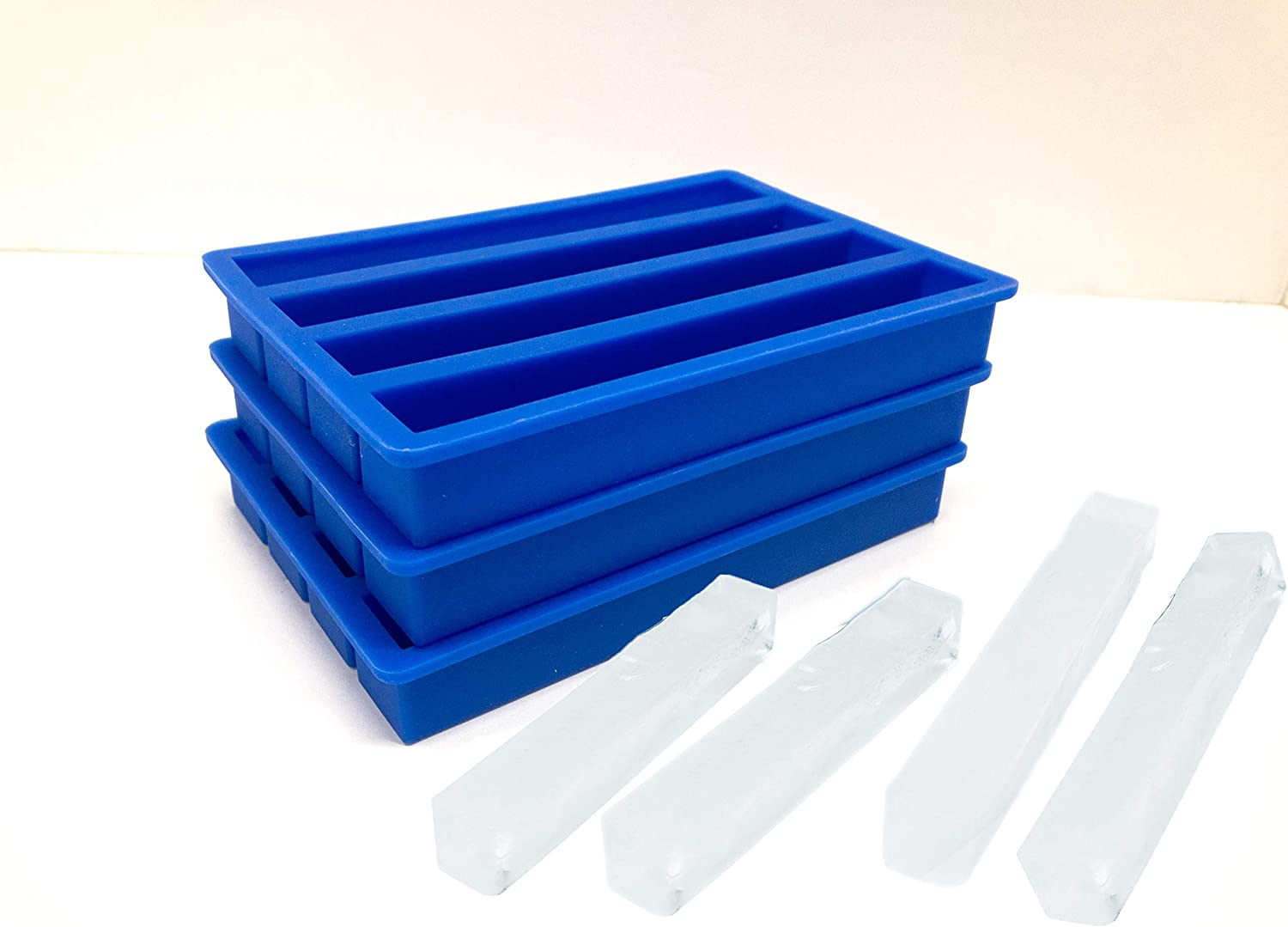 Pen Kit Mall USA SELLER 3 Pack Silicone Ice Cube Trays for Water Bottles Ice Cube Mold 12 Cavity, Easy Release Long Ice Cube Sticks For Bottled Beverage, Soda, Sport Drinks, Burrito Meal Prep