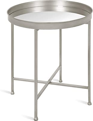 """Kate and Laurel Celia Metal Foldable Round Accent Table, 18.25"""" x 18.25"""" x 22"""", Glass Surface and Silver Frame, Modern Minimalist Design and Detachable Magnetic Tabletop"""