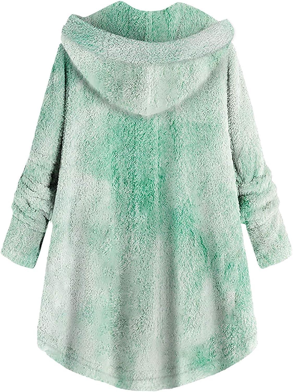 HCFKJ Sweatshirt Damen Große Größe Button Plüschjacke mit Kapuze Wolle Einfarbig Warm Langarm Mantel Pullover Bluse Herbst Winter Grün#4