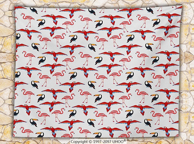 Flamingo Fleece Throw Blanket Illustration of Tropical Birds like Parreds Toucans and Flamingos Print Throw Red Coconut Black