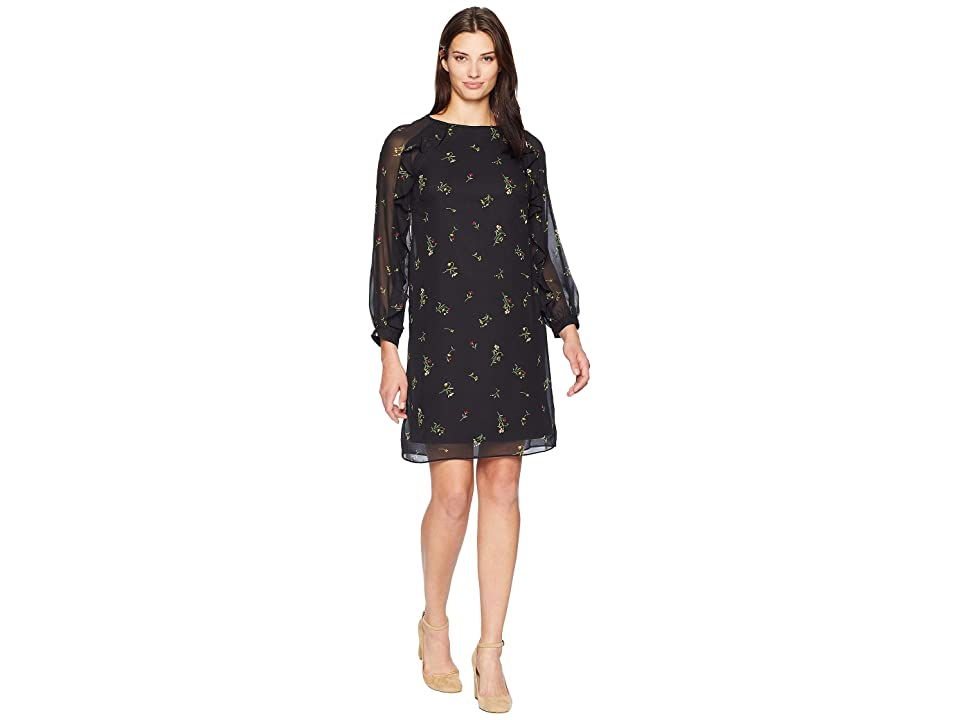 CHAPS Ruffle Trim Crepe Dress (Black/Multi) Women