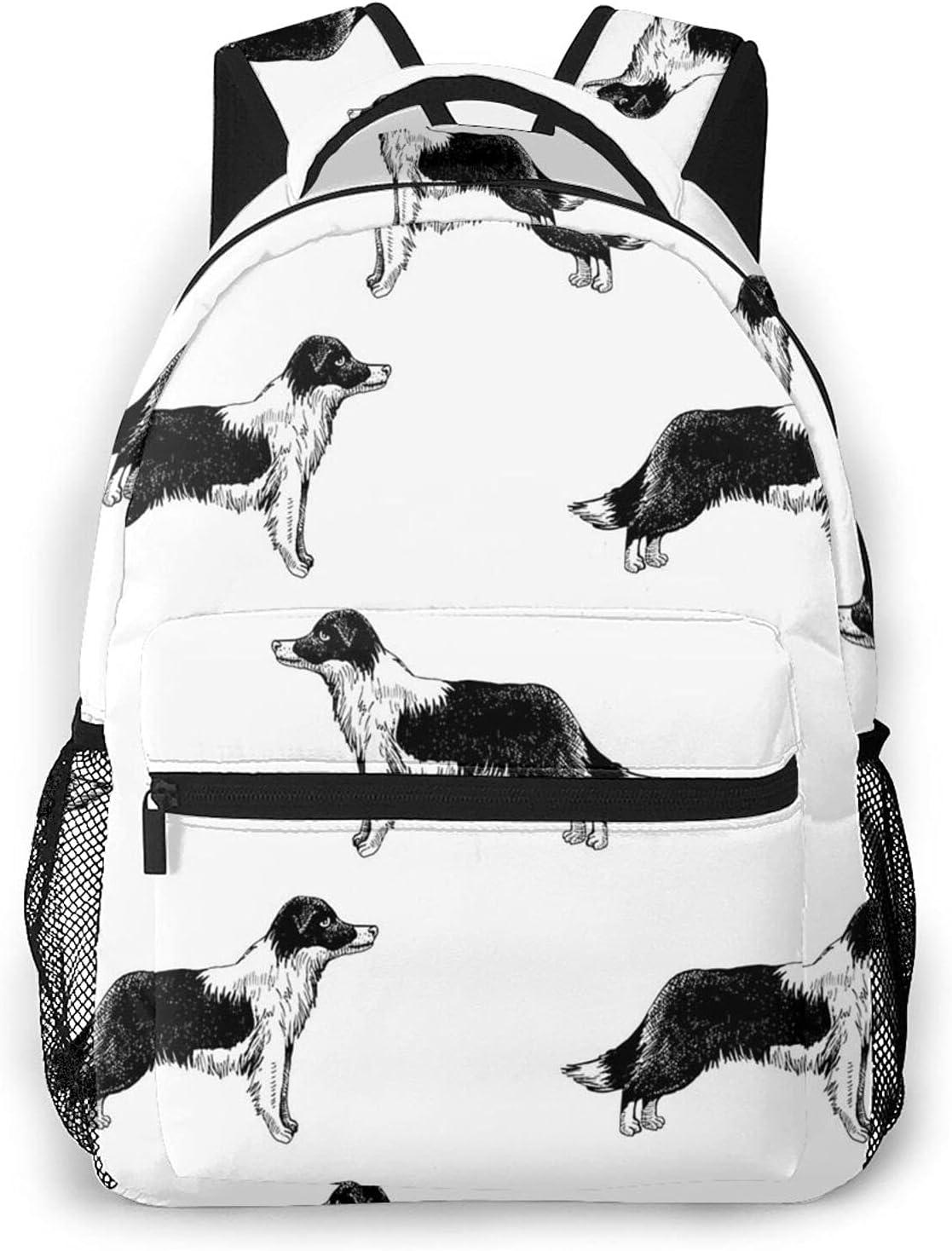 Border Collies Outstanding Travel Over item handling ☆ Daypack Student Laptop Backpack L Rucksack