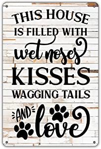 QIONGQI Funny Dog Rules Metal Tin Sign Wall Decor Rustic Farmhouse Dog Signs with Sayings for Home Decor Gifts for Dog Lovers