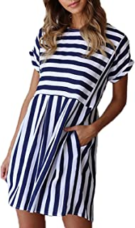 Womens Summer Striped Short Sleeve T-Shirt Dresses Casual Swing Aline Dresses with Pocket