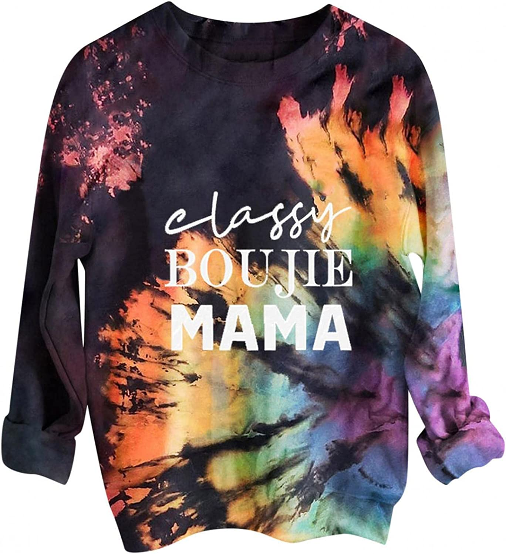 FABIURT Womens Casual Color Block Tie Dye Letter Printed Crewneck Long Sleeve Pullover Sweatshirt Tunic Tops Tee Shirts