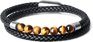 COAI Tiger Eye Stone Beaded Double Layer Genuine Leather Bracelet for Women Men