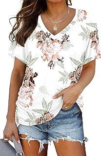 Womens Short Sleeve Tops V Neck Summer Blouse Dolman...