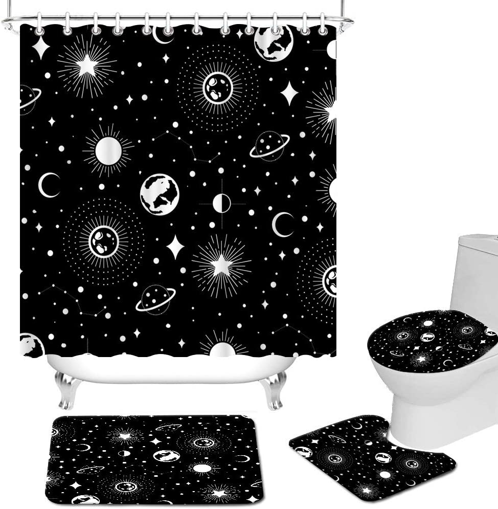 40% OFF Cheap Sale RyounoArt 4Pcs Universe Shower Curtain Safety and trust Non-Slip Rug To with Sets