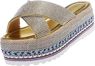 Flat Slippers Women Shoes With Crystal Hemp High Heel Bottom Flip Flops Female Platform Slides