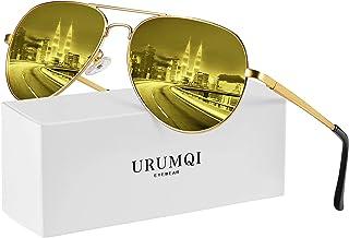 Polarized Aviator Sunglasses/Night Vision Glasses for Men & Women, UV400 Protection Anti-Glare Lens & Lightweight Metal Frame