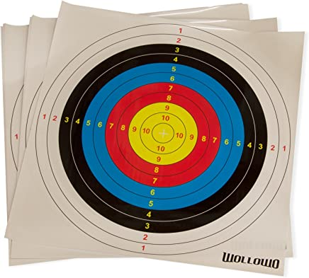 Wollowo - Lot de 20 cibles en papier - pour le tir à l'arc/à l'arbalète - 42 x 42 cm