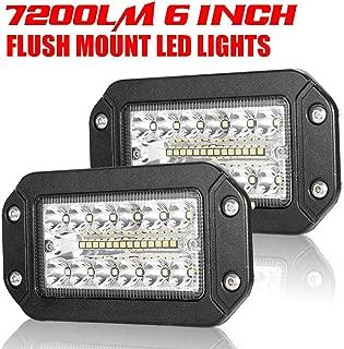 Flush Mount Led Pods - 6 Inch Spot Flood Combo Beam LED Light Bar - 7200LM Work Driving Lights Off Road for Jeep Trucks Tractor SUV 4x4 ATV UTV - 2 Pack