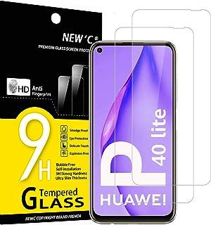 NEW'C 2-pack skärmskydd med Huawei P40 Lite 4G – Härdat glas HD klar 9H hårdhet bubbelfritt