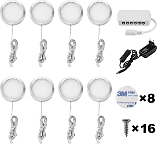 Lightess Luz del Gabinete LED Luz de Bajo Armario Iluminación para Vitrina para Cocina Estante Muebles Taquillas Enfriador de Vino (8 luces, Blanco frío)