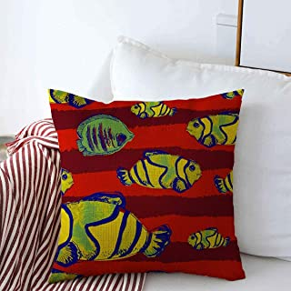 Staroutah Pillow Case Repeatable Angelfish Watercolor Exotic Fish Angel Lines Aquarium Aquatic Baby Beach Clown Design Farmhouse Decorative Throw Pillows Covers 20
