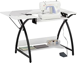 "Sew Ready Comet Sewing Table Multipurpose/Sewing Desk Craft Table Sturdy Computer Desk, 13332, 45.5"" W, Black/White"
