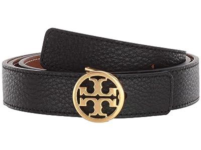 Tory Burch 1 Reversible Logo Belt (Black/New Cuoio/Gold) Women