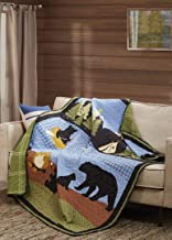 """Quilted Throw Blanket by Virah Bella - 50"""" x 60"""" Bear Lake Primitive Lightweight Throw Quilt Great for Loungers & Extra Be..."""