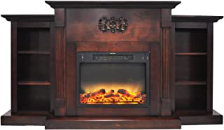 Cambridge CAM7233-1MAHLG2 Sanoma 72 In. Electric Fireplace in Mahogany with Built-in Bookshelves and an Enhanced Log Display