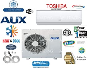 Aux- Air Conditioner Inverter+ Ductless Wall Mount Mini Split System Air Conditioner & Heat Pump Full Set, 12000 BTU 220V