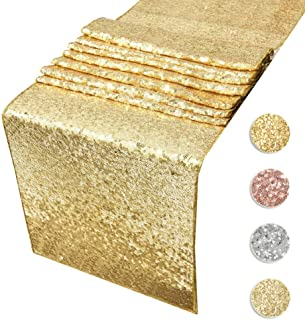 Sequin Table Runners Gold- 12 By 108 Inch Glitter Gold Table Runner-Gold Event Party Supplies Fabric Decorations For Holiday Christmas Gift Wedding Birthday Baby Shower