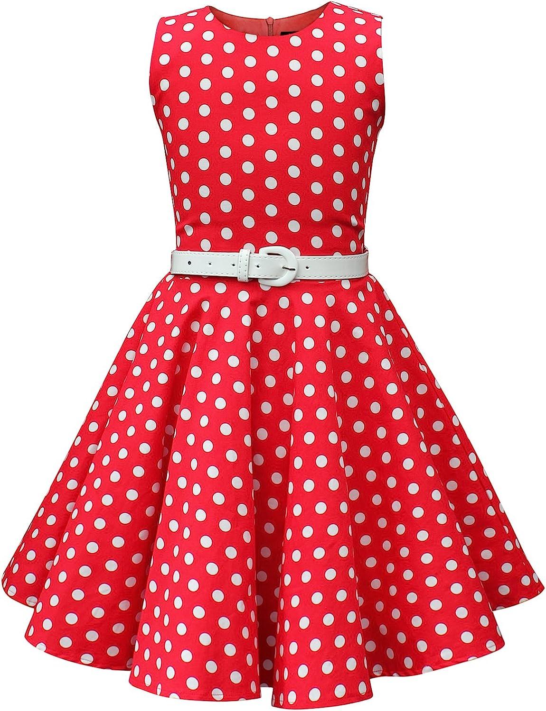 Kids 1950s Clothing & Costumes: Girls, Boys, Toddlers BlackButterfly Kids Audrey Vintage Polka Dot 50s Girls Dress  AT vintagedancer.com
