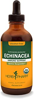 Herb Pharm Certified Organic Echinacea Root Liquid Extract for Immune System Support, Alcohol-Free Glycerite, 4 Ounce