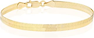 18K Gold Over 925 Sterling Silver Italian Solid 4.5mm Flat Herringbone Chain Bracelet Men Women 6.5