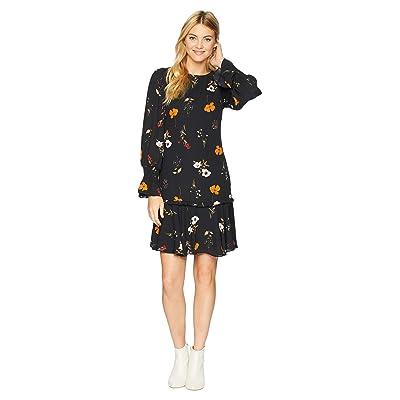Donna Morgan Floral Drop Waist Dress (Black/Burnt Orange Multi) Women