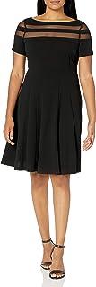 فستان حريمي من Sandra Darren بكم قصير من قماش الكريب سكوبا ملائم ومضيئ