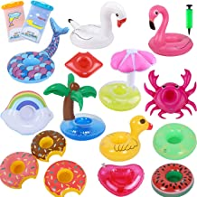 GiantGo 10 PCS Inflatable Drinks Holder Pool Cup Holders Set Floating Drinks Holder Hot Tub Drinks Holder with an Air Pump for Kids Adults Family Party Prop Water Fun