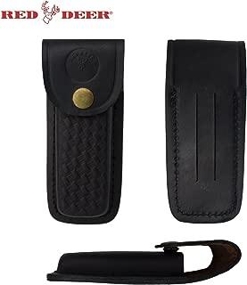RED DEER Folding Pocket Knife Genuine Black Leather Pouch Case