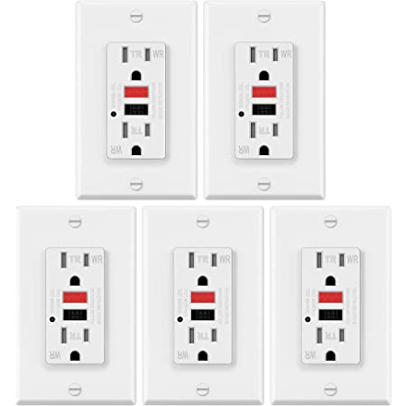 15A//20A GFCI GFI Safety Outlet Receptacle Tamper and Weather Resistant White