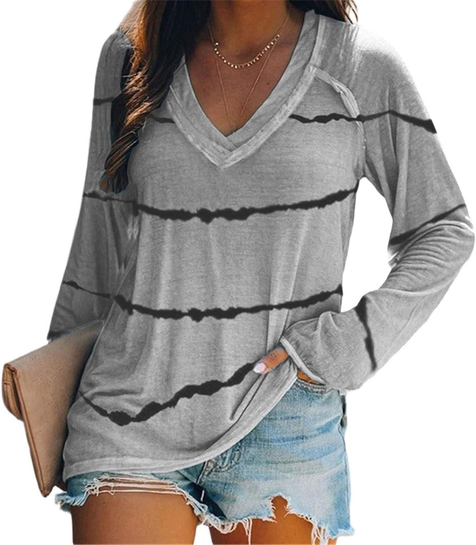 LISHAN Women's Long Sleeve V-Neck Tunic Tops Casual Blouse T Shirt Button Stripe Loose Tunic Shirts for Women