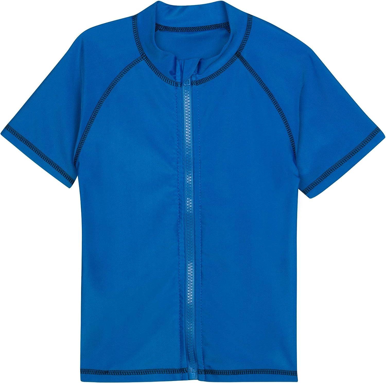 SwimZip Little Boys' Short Sleeve Zipper Rash Guard UPF 50+ (Multiple Colors): Clothing, Shoes & Jewelry